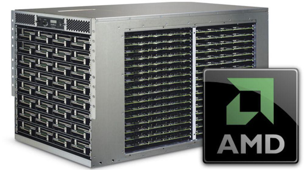 AMD kjøper SeaMicro, en amerikansk oppstartsbedrift som har spesialisert seg på små serverbokser med hundrevis av prosessorer. Modellen som er avbildet (SM10000) kan lempes rett inn i standard rack, og har en høyde på 10U (45 centimeter).