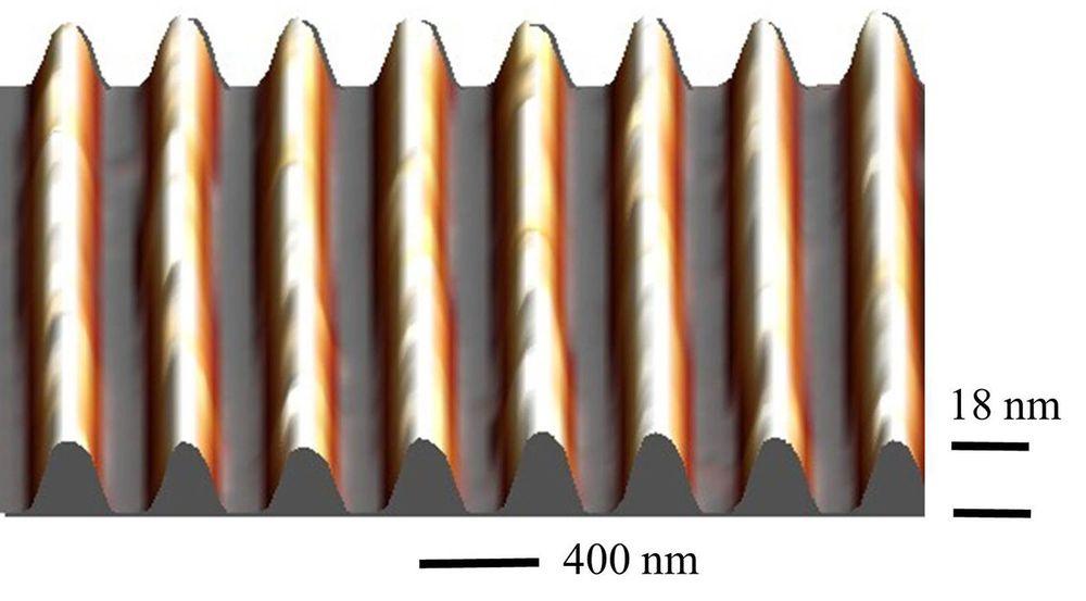 Bilde skapt med et atomkraftmikroskop av de grafénkledde grøftene som gir karbonmaterialet et betydelig båndgap.