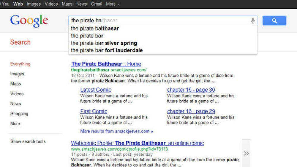 """Google Search nevner ikke lenger """"The Pirate Bay"""" blant forslagene når man skriver i søkefeltet til tjenesten."""