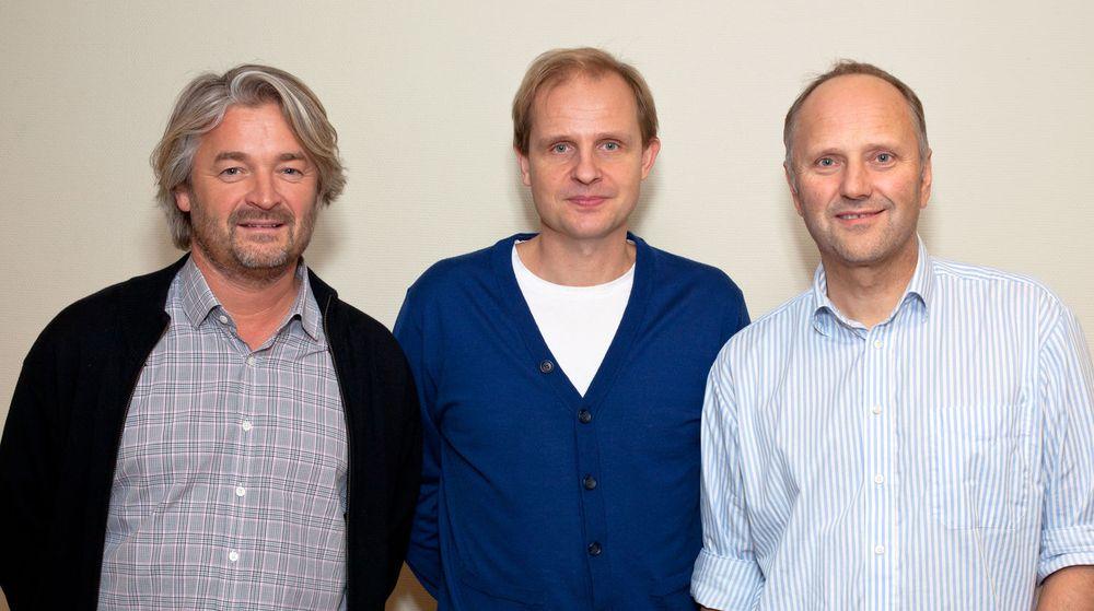 Fra venstre: Øystein Benjaminsen, daglig leder i IT Partner Bodø, Lars Ivar Simonsen, administrerende direktør i Funn IT, og Sture Nyhagen, styreleder i IT Partner Bodø.