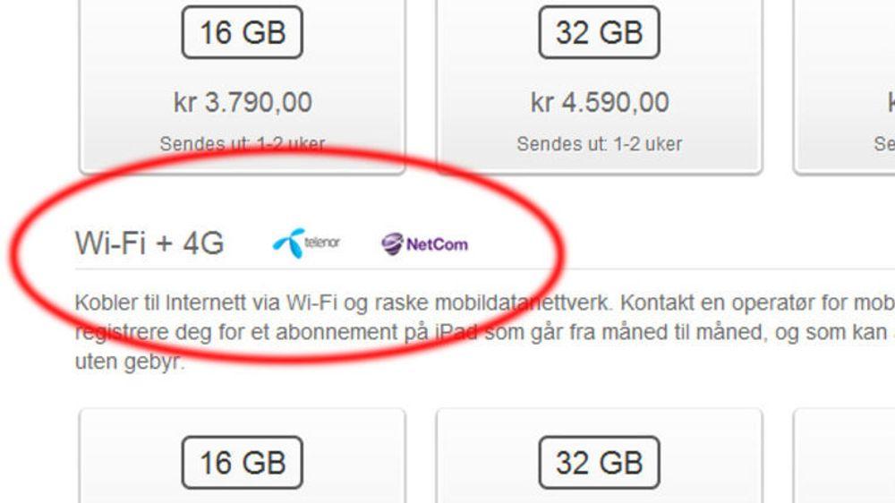 Er markedsføringen av iPad WiFi + 4G villedende?