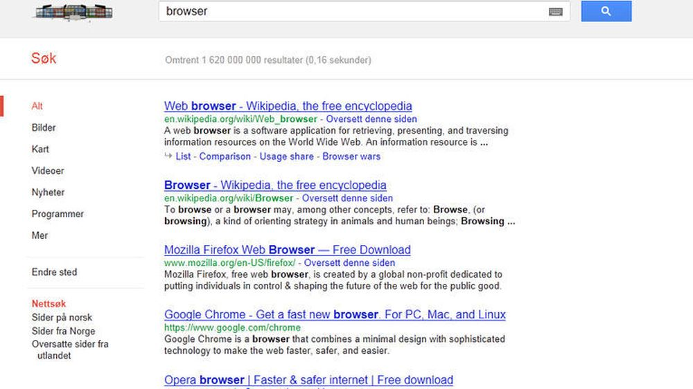 Google Chrome i søkeresultatene til Google Search den 27. mars 2012.