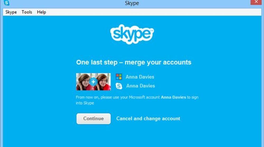 I Skype 6.0 kan brukeren Skype- og Windows Live Messenger-kontoer slås sammen.