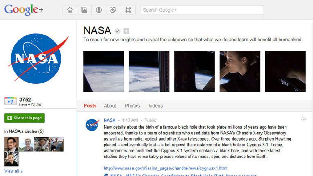 NASA er svært fornøyde med mengden av Google+-brukere som så langt har valgt å følge organisasjonens Google+-side.