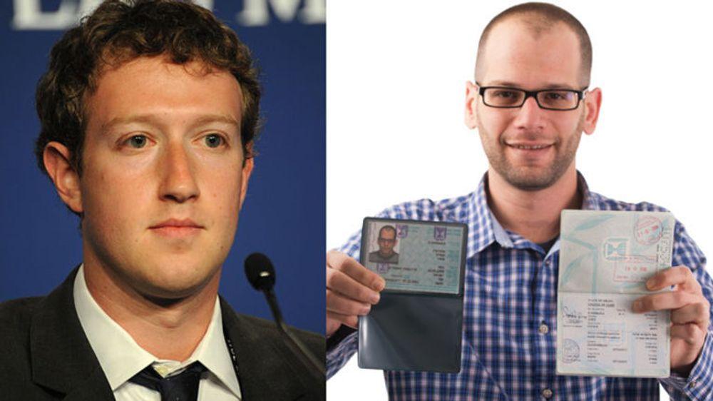 Mark Zuckerberg (t.v) utfordres nå av sin israelske navnebror «Mark Zuckerberg». - Hvorfor skal ikke også jeg kunne selge «liker»-klikk, mener han.