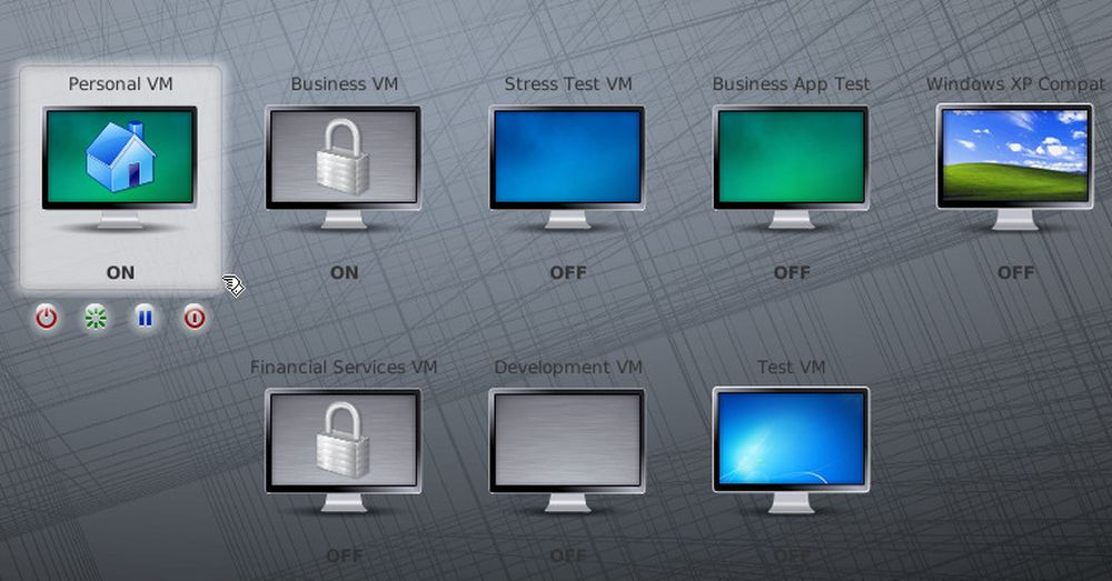 Detalj fra skjermbildet til Citrix Receiver for XenClient. Pc-en kan deles inn i et antall virtuelle maskiner. Maskinene merket med lås kontrolleres sentralt, og all data som applikasjonene deres lagrer lokalt, krypteres. Alle virtuelle maskiner kan brukes offline, og oppdateres automatisk når man igjen er koplet til nettet. Det er ugjennomtrengelige skott mellom alle de virtuelle maskinene.