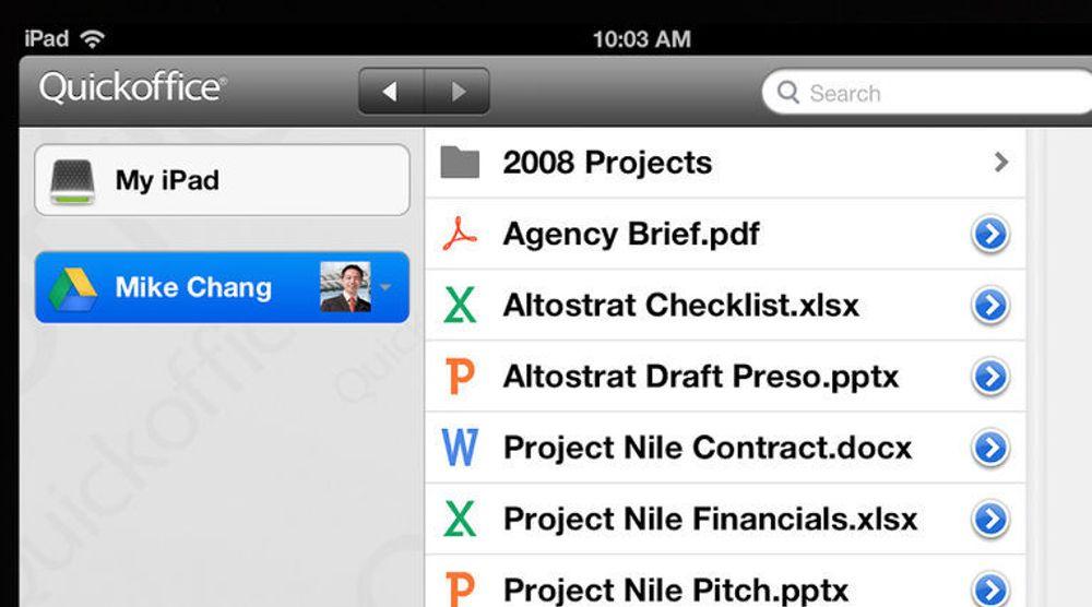 QuickOffice tilbys fritt til kunder av Google Apps for Business med iPad.