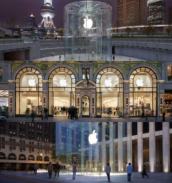 Apples flaggskip-butikker pleier å sette design i fokus. Ovenfra: butikkene i Shanghai, London og New York.