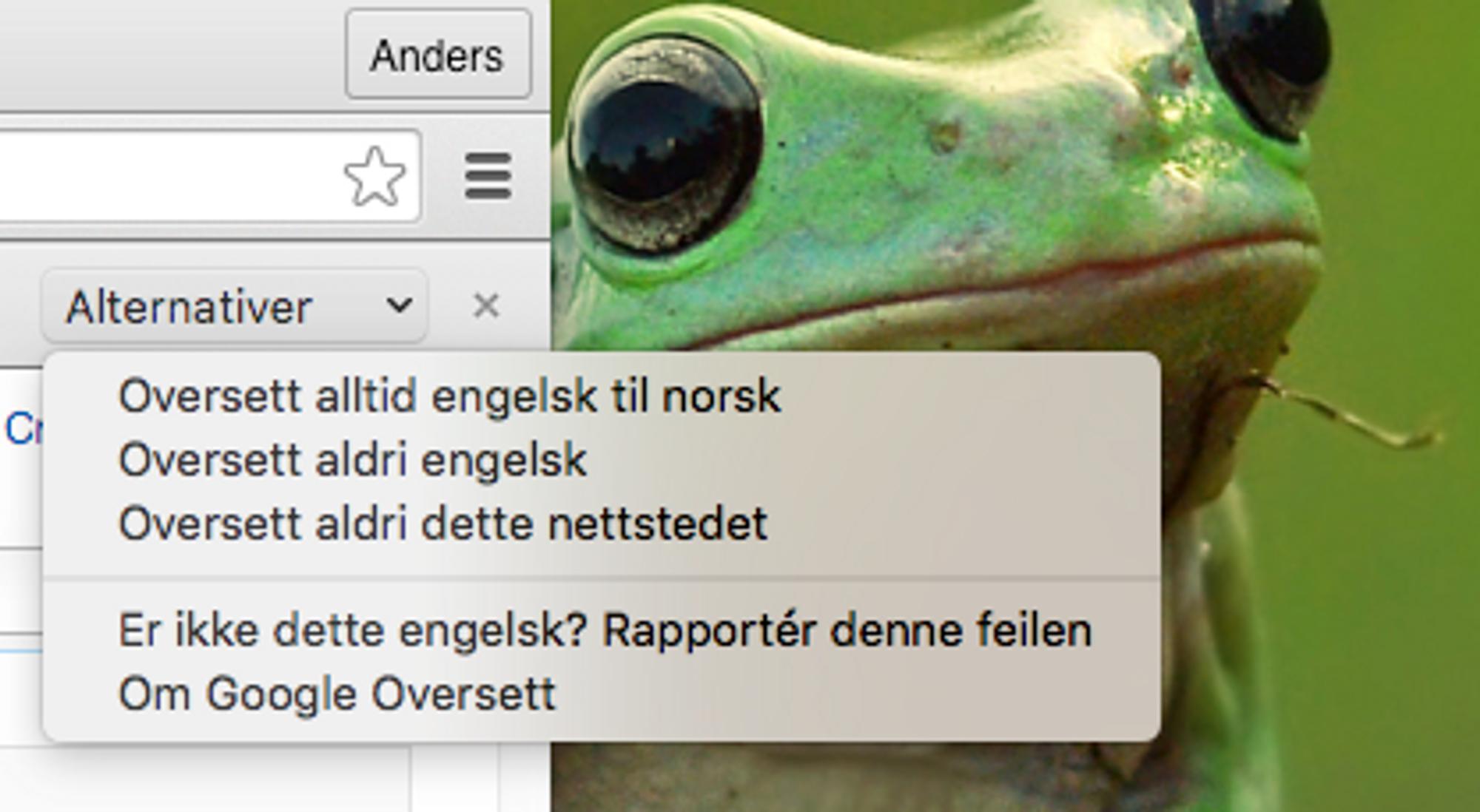 «Oversett aldri [språk]» er en rask, men ikke spesielt effektiv, måte å fortelle Chrome hvilke nettsider du ikke vil ha oversatt.