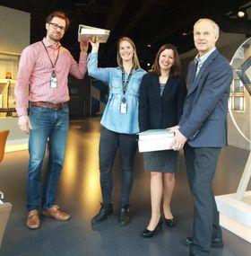 Lars Gunnar Toft Larsson, Marte Almeland, Astrid Skarheim Onsum og Rune Andersen ved Aker Solutions forretningsområde engineering er svært fornøyde med å ha redusert dokumentasjonsmengdene betraktelig.
