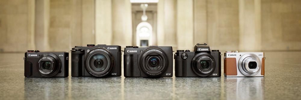 Her er PowerShot-familien samlet med G7 X Mark II helt til venstre.