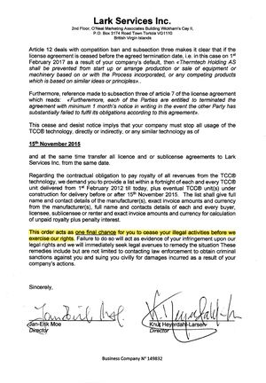 Slutt å bruke teknologien vår innen 15. november 2015, er budskapet i dette brevet til Thermtech i Bergen.