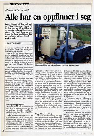 Teknisk Ukeblad 1986: Oppfinner Olav Ellingsen ble kalt «Florøs Petter Smart». Borekaksrenseren «Tor» på bildet.
