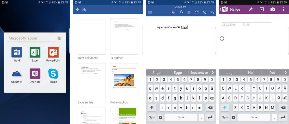 Microsofts Office-pakke utgjør en viktig del av nytteprogramvaren i Galaxy S7 Edge. Spesielt Word og OneNote er nyttig for mange, men jobber du med regneark eller presentasjoner setter du gjerne også pris på Excel og PowerPoint.