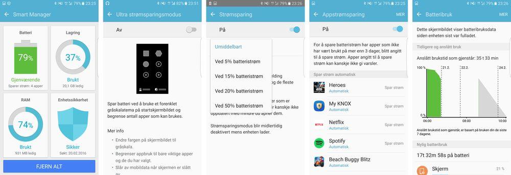 Det skjuler seg en mengde strømsparemuligehter i menyene. I tillegg kommer Android 6.0 med sine egne løsninger som virker uavhengig. Sammen med et stort batteri betyr dette at Galaxy S7 Edge kan holde lenge på én lading.