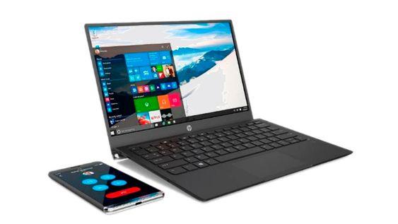 I dokken: Elite x3 kan dokkes på ulike måter. Den kommer med en dokk som gjør at den kan kobles til, og selvfølgelig lades, til en skjerm og tastatur, men også til denne kalt Lap Dock. Det er et bærbar PC, så og si uten annet enn en skjerm, batteri og tastatur. Alt kjører i telefonen.