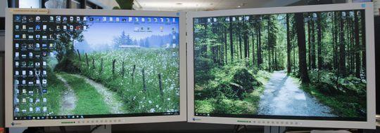 To 24-tommers skjermer med 1920 x 1200 piksler. Dette er det mindre brukte 16:10-formatet.