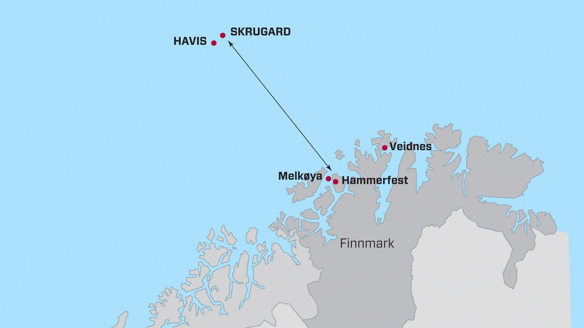 Johan Castberg-feltet, hvor oljefunnene Skrugard og Havis inngår, ligger ca. 240 km fra Hammerfest.