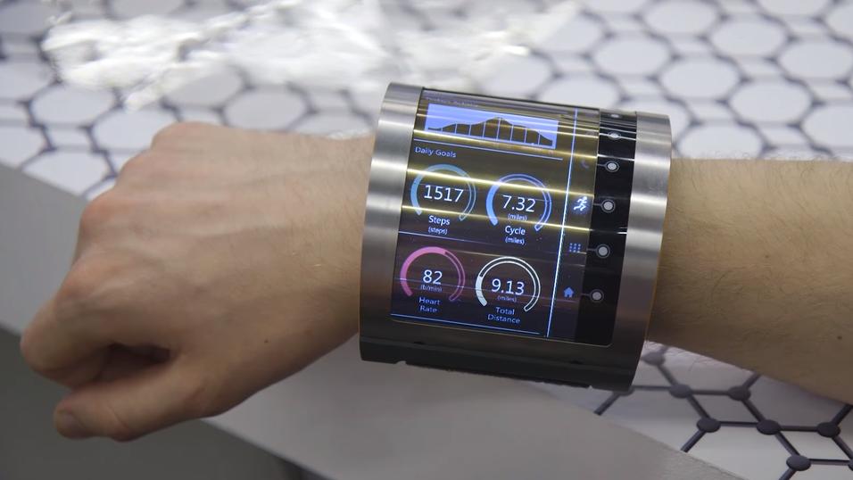 Den fleksible skjermen bæres på håndleddet som et armbånd.