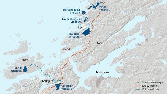 Her er de seks vindparkene som nå skal bygges ut i Midt-Norge. Hydro skal kjøpe rundt en tredjedel av den kommende vindkraftproduksjonen.