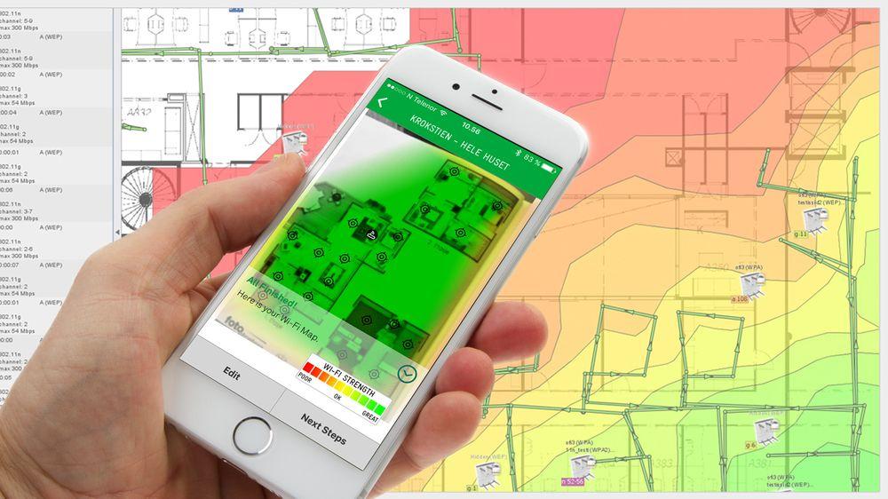 Ekahau HeatMapper til Windows (i bakgrunnen) eller Telstra Wi-Fi Maximizer til mobil er enkel og gode verktøy for å lage «heat maps» av wifi-dekningen din.