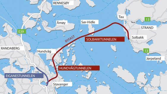 Ryfast-prosjektet består av tre tunneler. Fastlandsforbindelsen mellom Ryfylke og Stavanger-regionen har en prislapp på 6,4 milliarder kroner. I tillegg kommer Eiganestunnelen, som er en del av ferjefri E 39 til 2,9 milliarder kroner.
