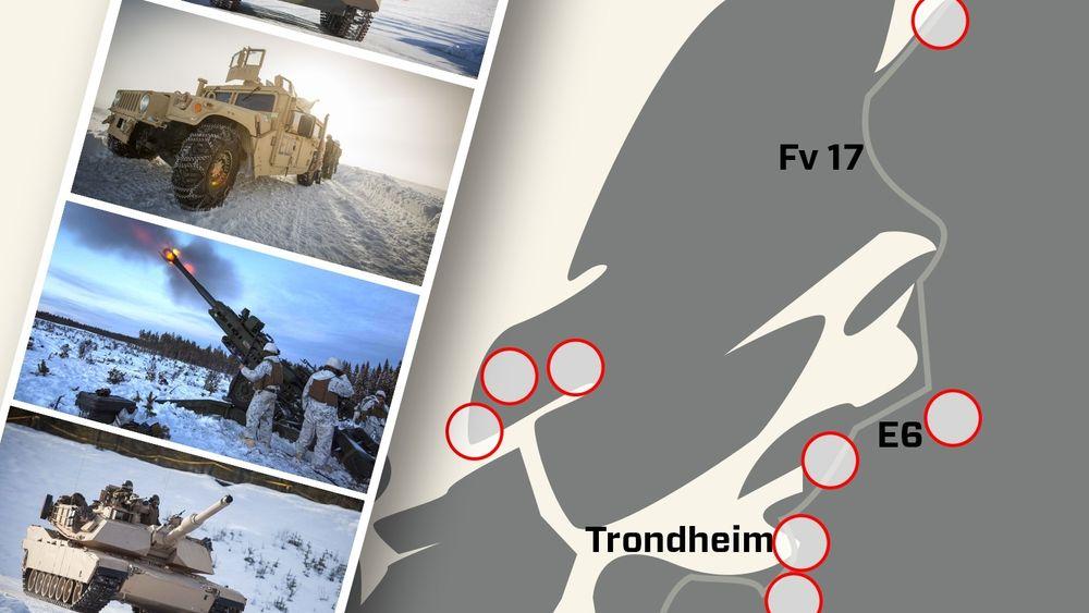 Humvee-er av ulikt slag, stridsvogner og artilleri er blant utstyret som USA har forhåndslagret i Trøndelag.