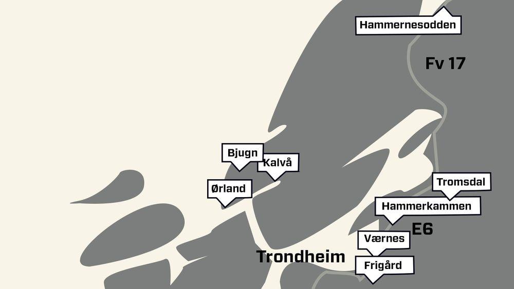 De amerikanske forhåndslagrene består av seks fjellhaller i tillegg til flybasene Værnes og Ørland.