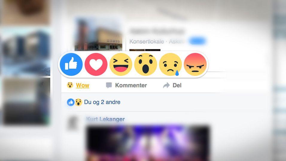 Nye knapper lar deg vise flere følelser på Facebook.