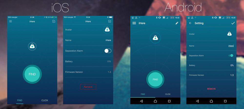 Android-versjonen og iOS-versjonen av iHere-appen er temmelig like, men er elegant tilpasset de to platformene.