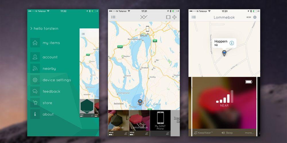 Slik ser hovedmenyene i TrackR-appen ut på iOS. På Android ligner de sterkt på flere punkter, men med dårligere skalering og mindre kart. Bildet i midten viser oversiktsvisningen, mens bildet til høyre viser enkeltvisningen.