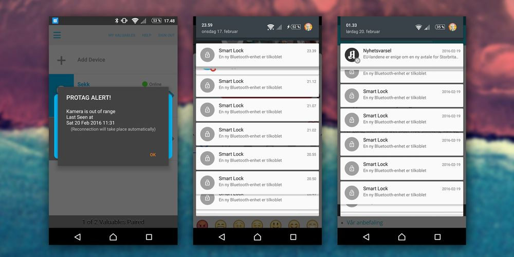 SLUTT! Protag-appen maser og maser om at den er funnet, via Androids innebygde Smart Lock-funksjon. Både Elite og Duet er dessuten notorisk flinke på å bli mistet, og da vibrerer det som besatt i lomma.