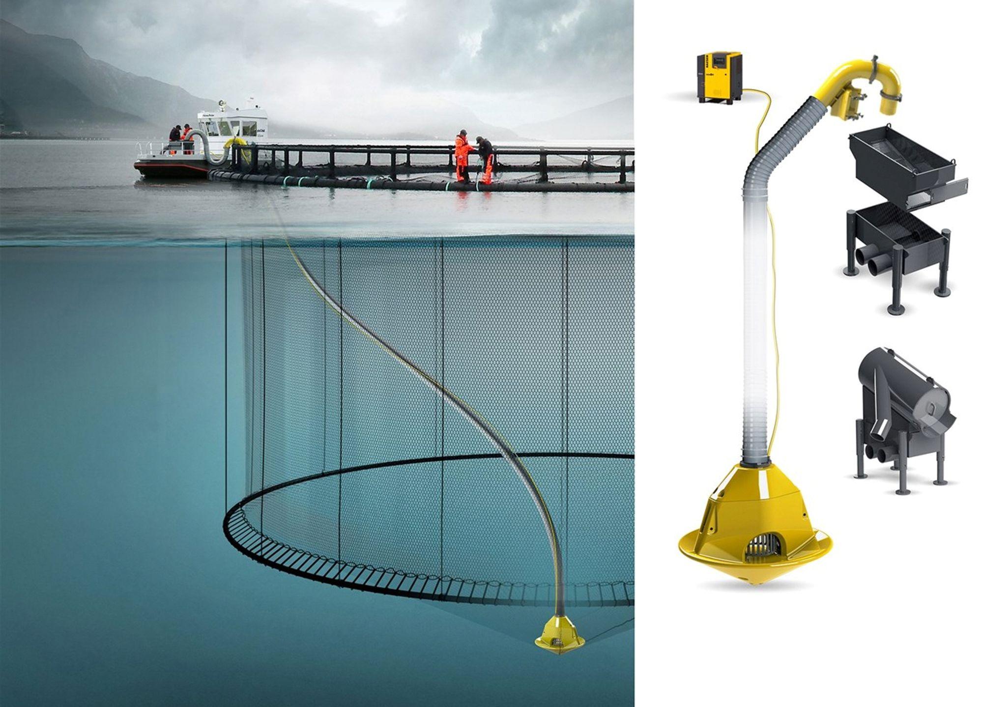 Akva group har utviklet en støvsuger for død fisk. Ved hjelp av en kompressor som tilfører luft fra bunnen oppstår et sug som kan frakte død fisk opp.