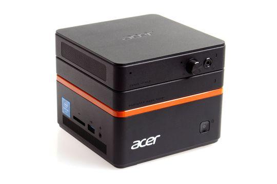 Acer Revo Build M1-601 med harddiskblokk og lydblokk på toppen.