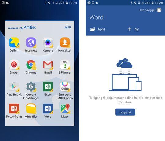 Samsungs MyKnox-løsning, og Microsofts Office-applikasjoner gir deg et pent batteri av hjelpemidler for sikkerhet og produktivitet.