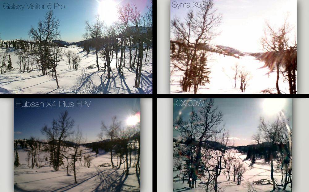 Disse stillbildene tok vi med kameraene på de forskjellige dronene. Som i videoene er det også her én drone som peker seg ut: Nine Eagles Galaxy Visitor 6 Pro. Hubsan X4 Plus FPV skuffer litt med tanke på prisen, fordi kameraet aldri leverer skikkelig skarpt bildemateriale. Både farger, detaljer og kontraster har en tendens til å flyte ut. Bilde fra Syma-dronen er fullstendig ubrukelig, mens CX-30W leverer sånn nogenlunde overlevelig kvalitet.