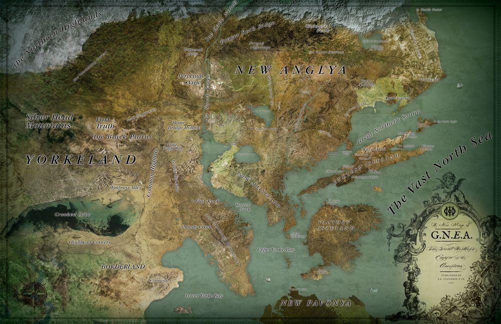 Kart over G.N.E.A. –hentet fra albumets konsept-bilder.