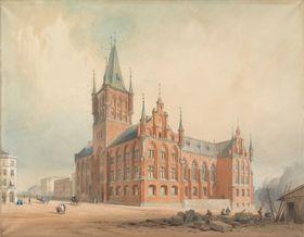 I 1856 ble det utlyst en arkitektkonkurranse for Norges første stortingsbygning. Vinneren var en nygotisk bygning med spir tegnet av arkitektene Heinrich Ernst Schirmer og Wilhelm von Hanno. Men det kirkelignende forslaget ble forkastet av Stortinget.