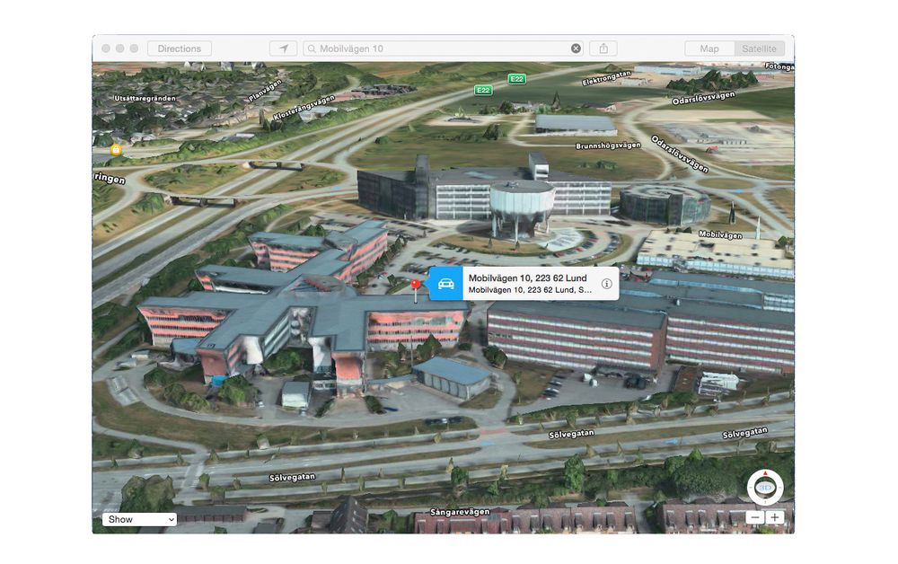 Apple Maps 3D-visning av Mobile Heights Business Center i Lund, Sverige