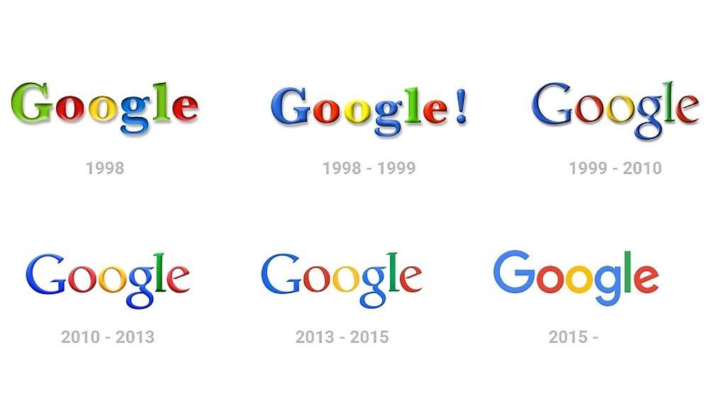 Googles ulike logoer mellom 1998 og 2015.