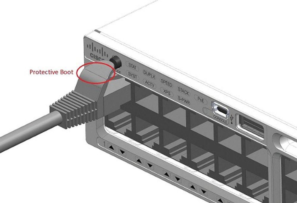 Bildet viser den besværlige knappen som finnes med en flere Catalyst-svitsjer fra Cisco.