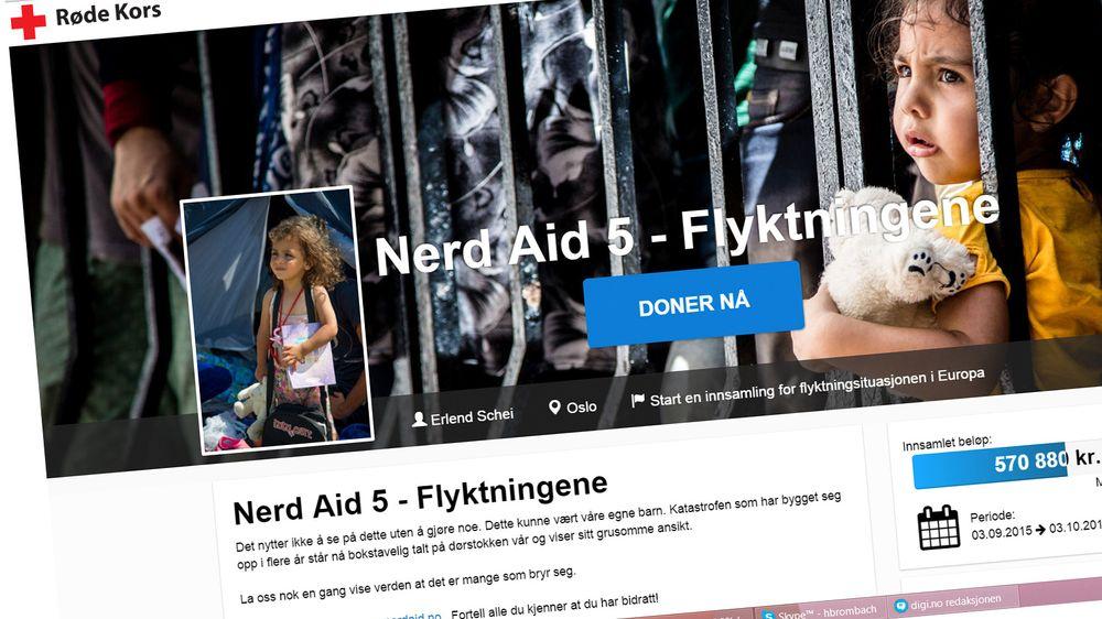 Nerd Aid med initiativtaker Erlend Schei i spissen, samler denne gang inn penger til Røde Kors' arbeid i forbindelse med flyktningkrisen i Middelhavet.