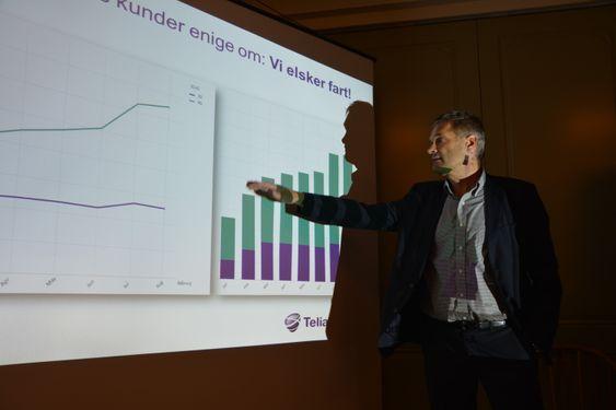 Administrerende direktør i TeliaSonera Norge, Abraham Foss, setter fokus på hastighet.