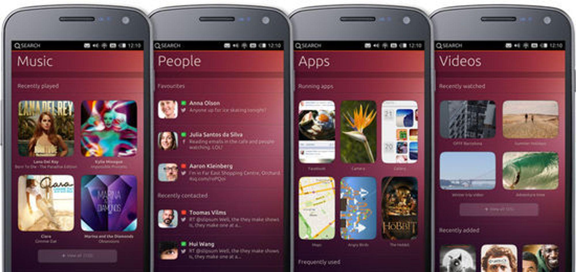 Dersom man sveiper over skjermen, kommer man til oversiktsvinduer med mye brukt innhold, for eksempel kontakter, musikk, videoer og apper.