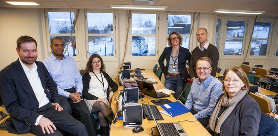 Hele teamet samlet: På bildet fra venstre ser vi Oddgeir Hvidsten, Thomas Anglero, Helene Braathen, Hanne Øverlier, Roar Jakobsen,Nils Arve Sande og Solveig Dalene.
