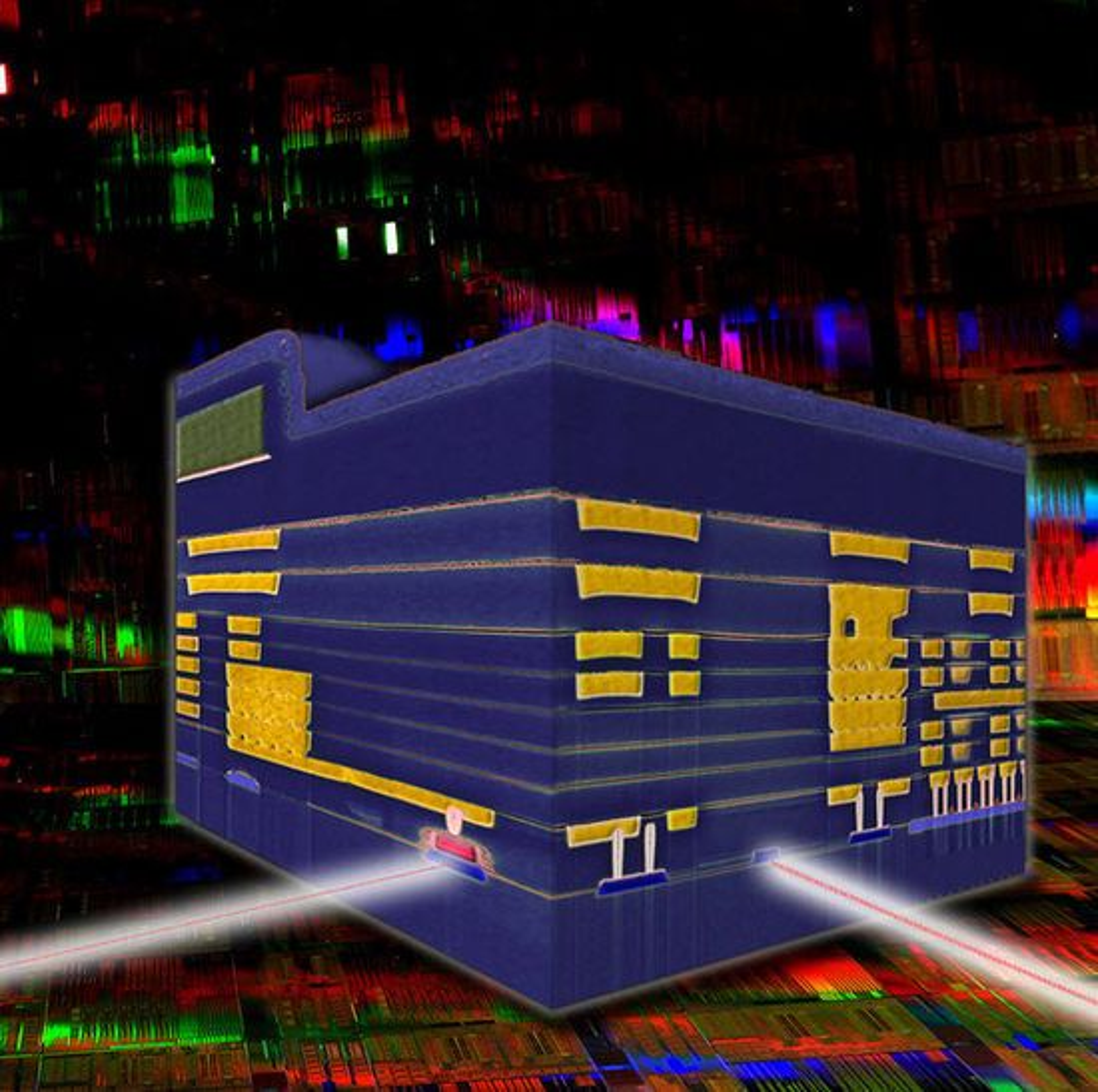 Tverrsnitt av en silisiumbasert nanofotonikk-brikke fra IBM hvor elektriske (gult) og optiske (blått) kretser kombineres.