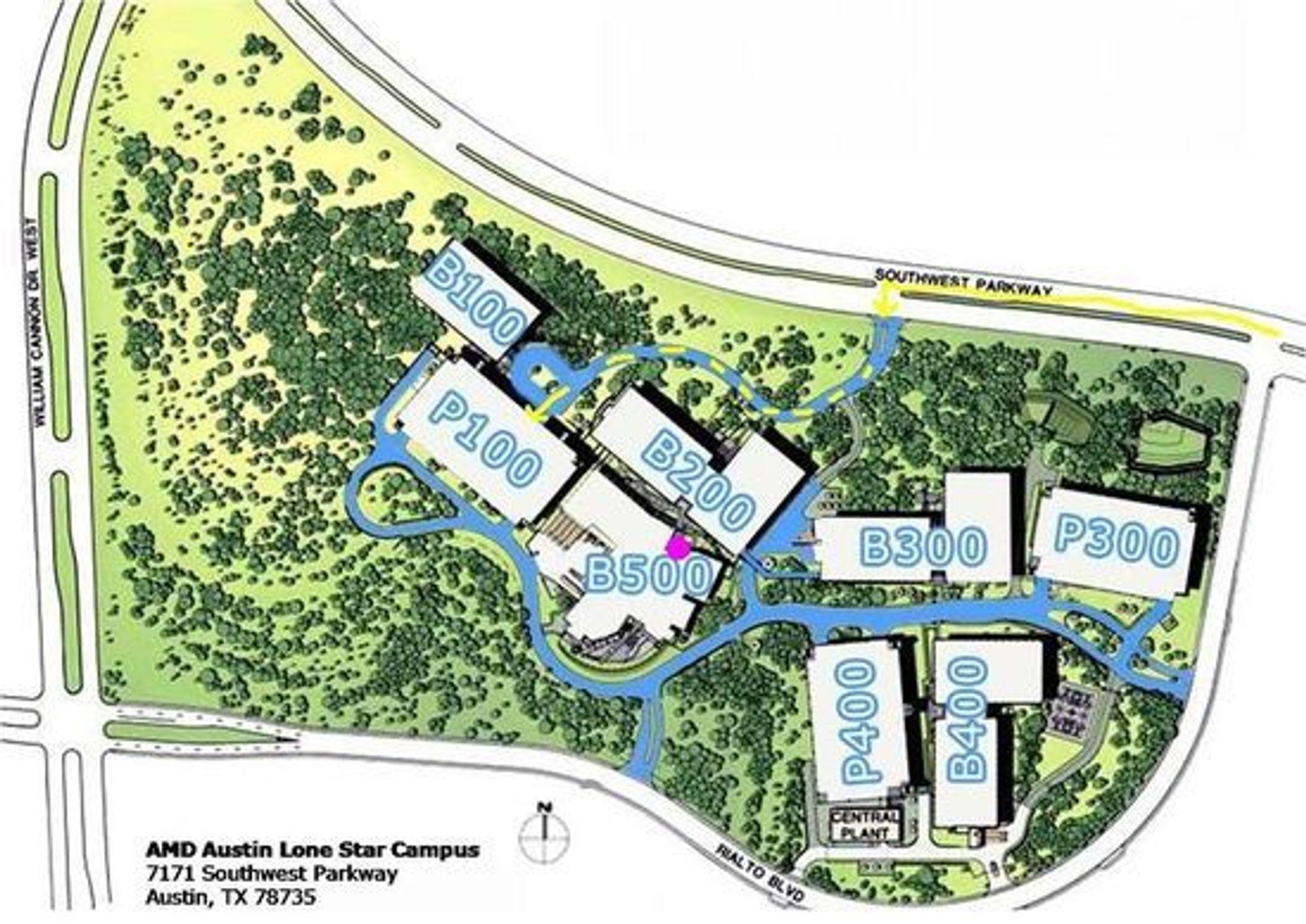 Eiendom til salgs: AMDs såkalte «Lone Star» campus i Austin består av en rekke bygninger.