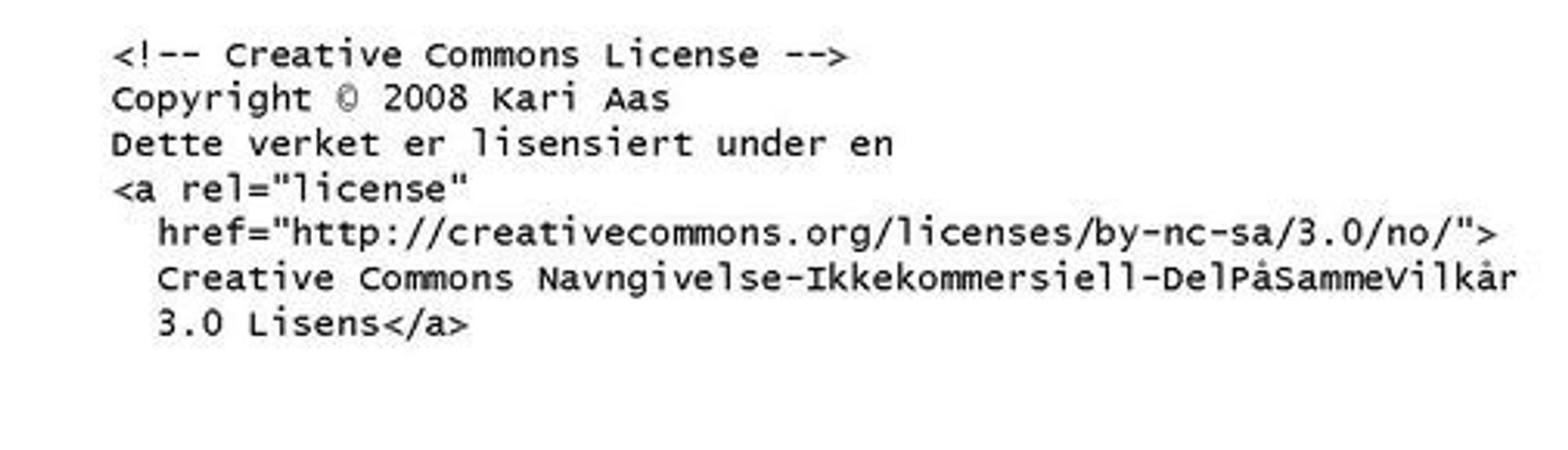 """Lisensgeneratoren på CreativeCommons.no genererer automatisk en lenke som kan brukes. Legg merke til rel=""""license""""-taggen. Den gjør det mulig for såkemotorer å finne CC-lisensiert innhold."""