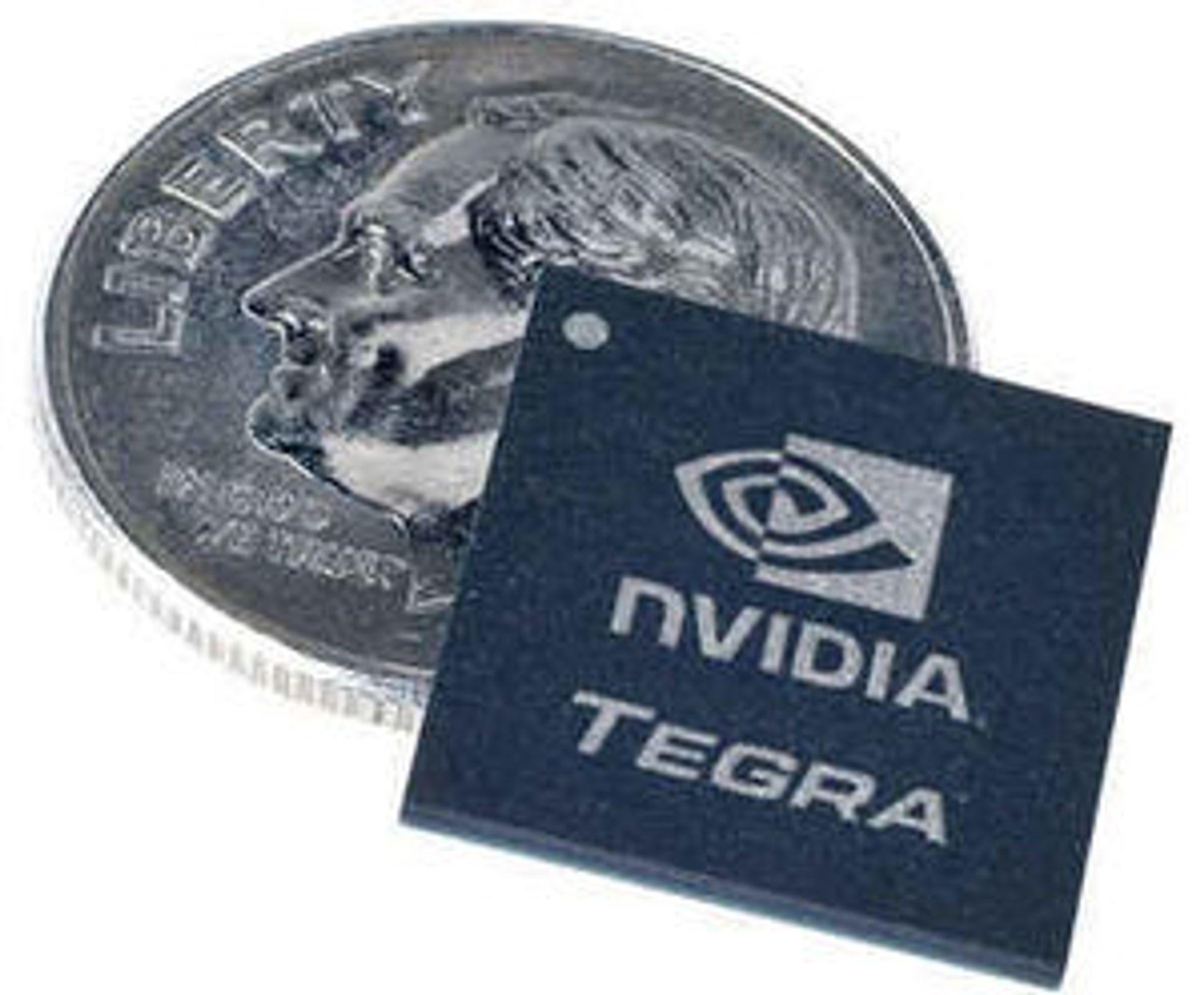 Tegra 600 sammenlignet med en 10 cents-mynt