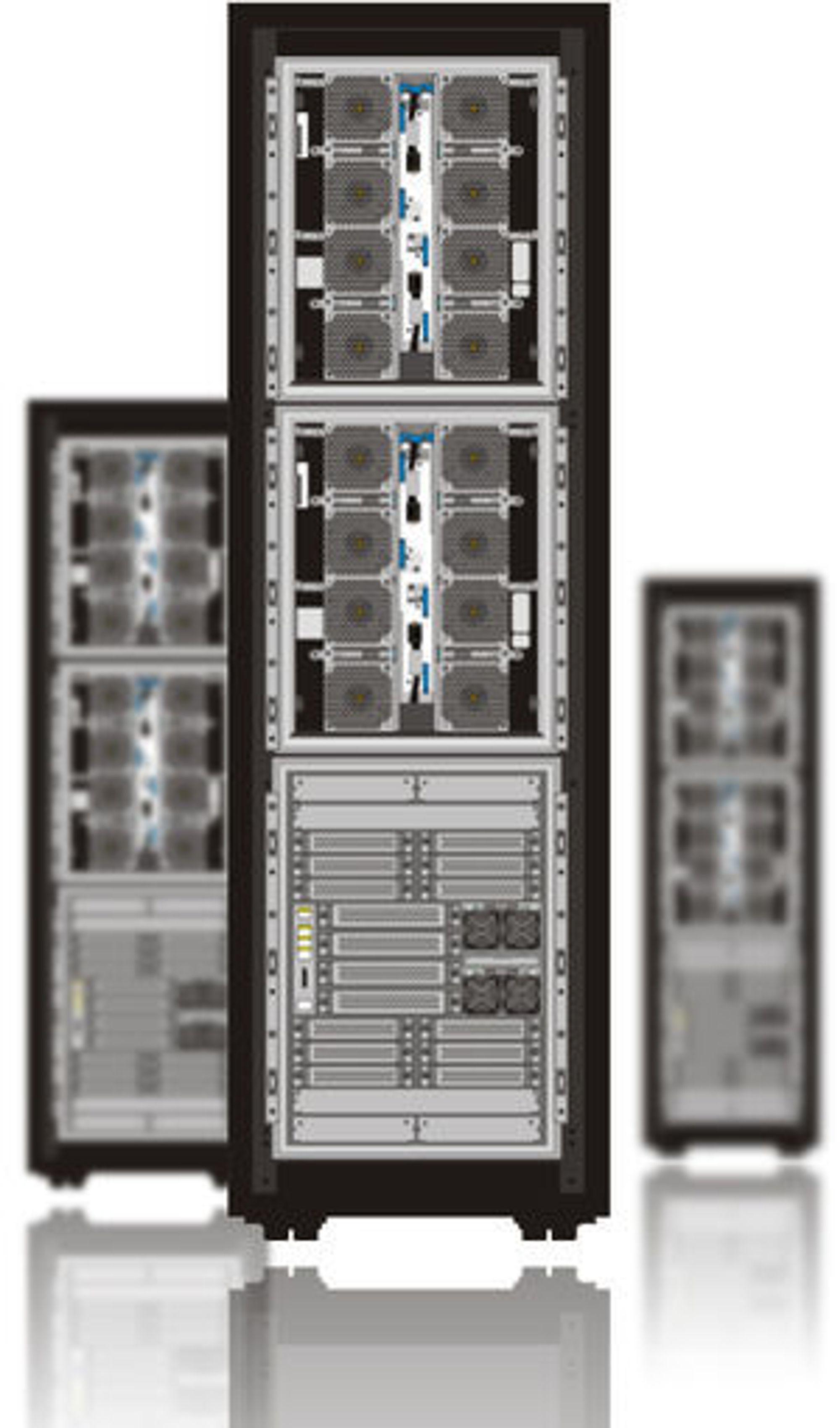 Baksiden av Hitachi VSP gjenspeiler det nye prinsippet der kjøleluft sendes horisontalt gjennom systemet, framfor loddrett. Hitachi mener det passer bedre til hvordan moderne datasentraler er lagt opp, med egne kjølekorridorer.